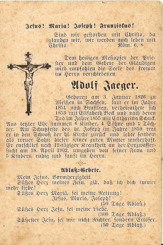 Lembrança do falecimento de Jaeger