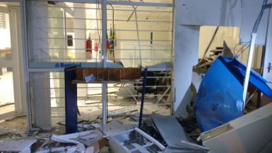 Dois caixas eletrônicos foram explodidos (Foto: Brigada Militar)