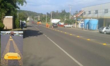 Avenida Bruno Cassel recebeu tachões (Fotos: Divulgação/Prefeitura)