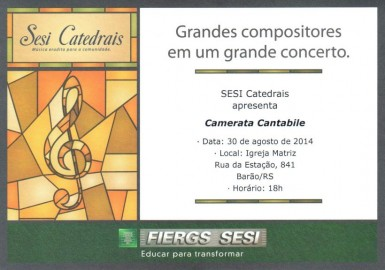 Sesi Catedrais estar� em Bar�o no final do m�s