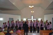 Coral Municipal de Salvador do Sul recebeu visita de tr�s coros no evento (Foto: J�lia Weschenfelder)